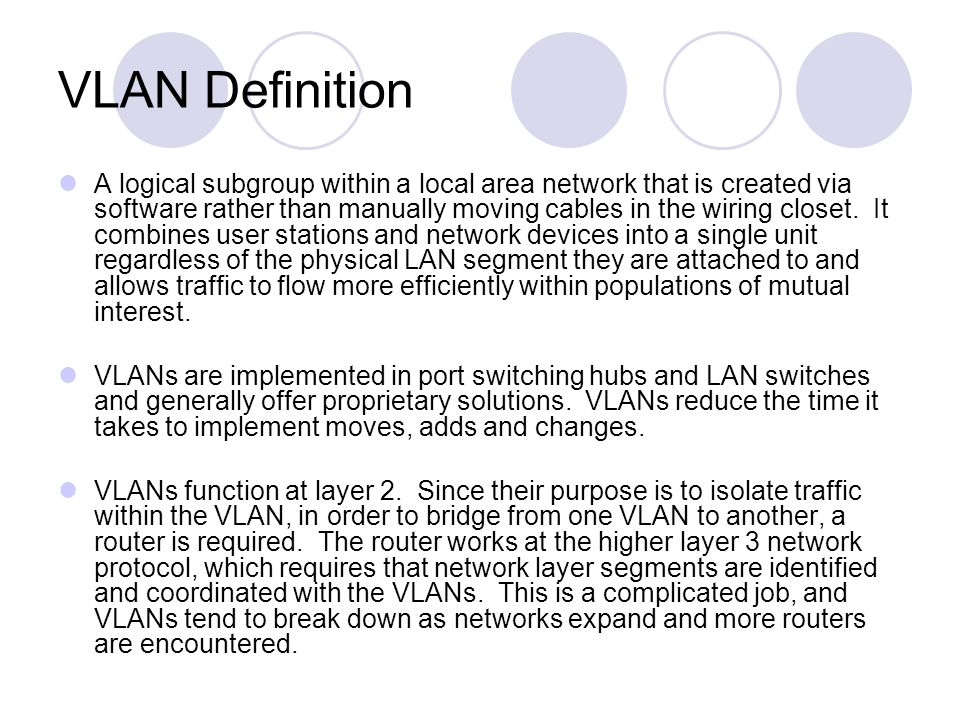 VLAN Definition A logical subgroup within a local area network that is created via software rather than manually moving cables in the wiring closet. I