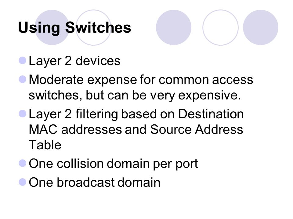 Introducing Multiple Subnets/Networks with Routers Switches are Layer 2 devices Router are Layer 3 devices Data between subnets/networks must pass through a router.