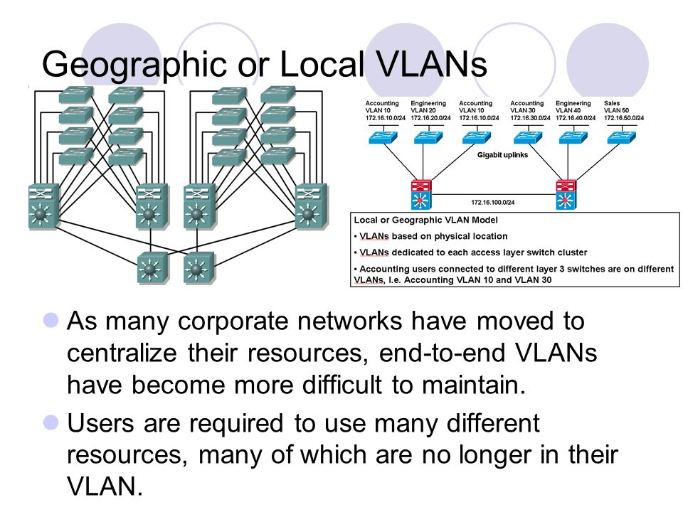 Geographic or Local VLANs As many corporate networks have moved to centralize their resources, end-to-end VLANs have become more difficult to maintain