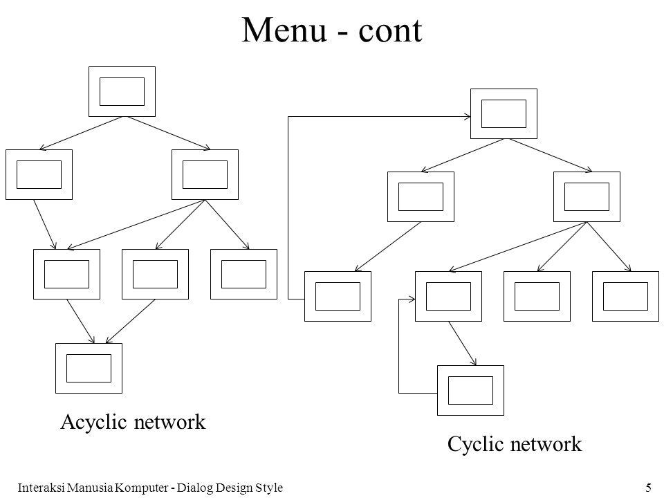 Interaksi Manusia Komputer - Dialog Design Style5 Menu - cont Cyclic network Acyclic network