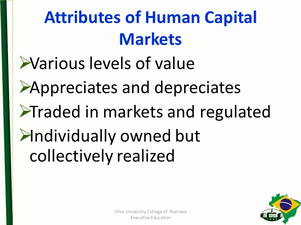 Ohio University College of Business Executive Education Attributes of Human Capital Markets  Various levels of value  Appreciates and depreciates  Traded in markets and regulated  Individually owned but collectively realized
