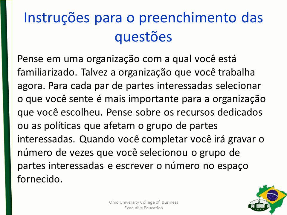Instruções para o preenchimento das questões Pense em uma organização com a qual você está familiarizado. Talvez a organização que você trabalha agora
