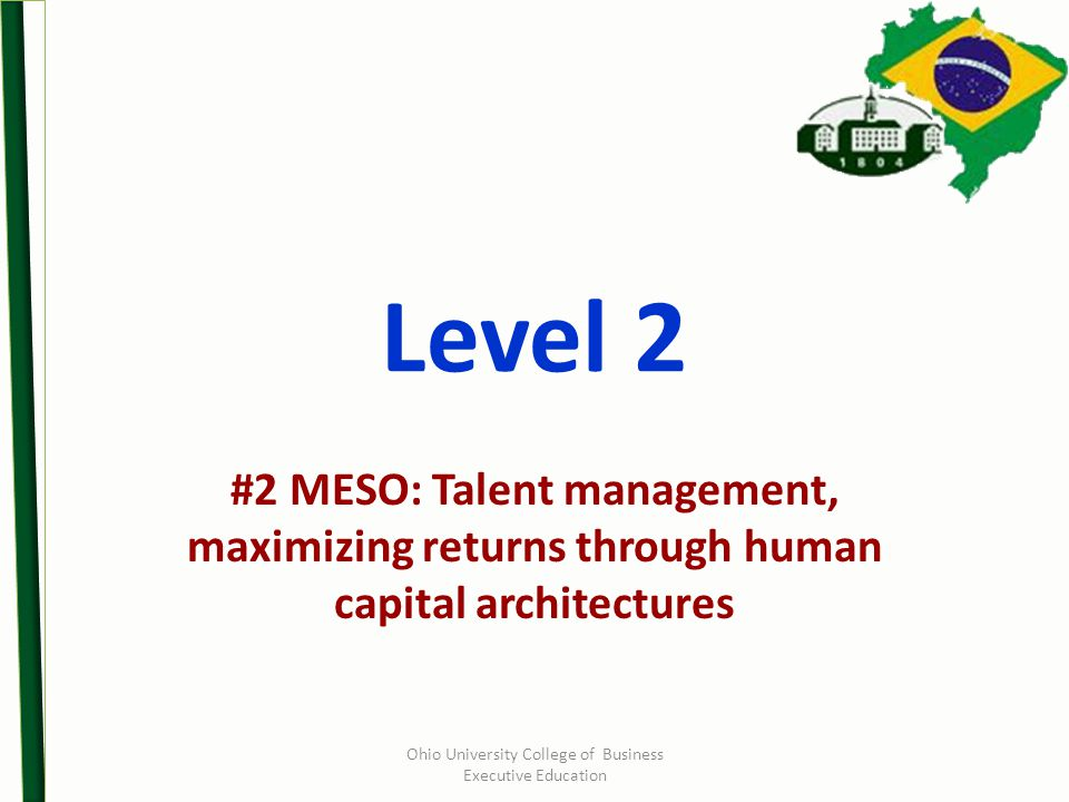 Level 2 #2 MESO: Talent management, maximizing returns through human capital architectures Ohio University College of Business Executive Education