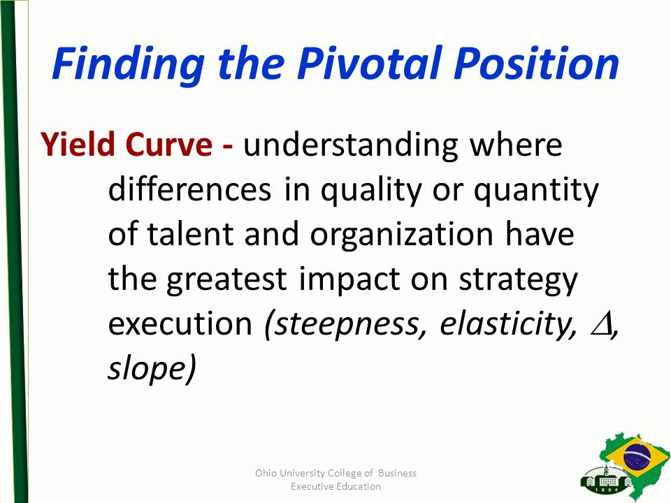 Finding the Pivotal Position Yield Curve - understanding where differences in quality or quantity of talent and organization have the greatest impact on strategy execution (steepness, elasticity, , slope) Ohio University College of Business Executive Education