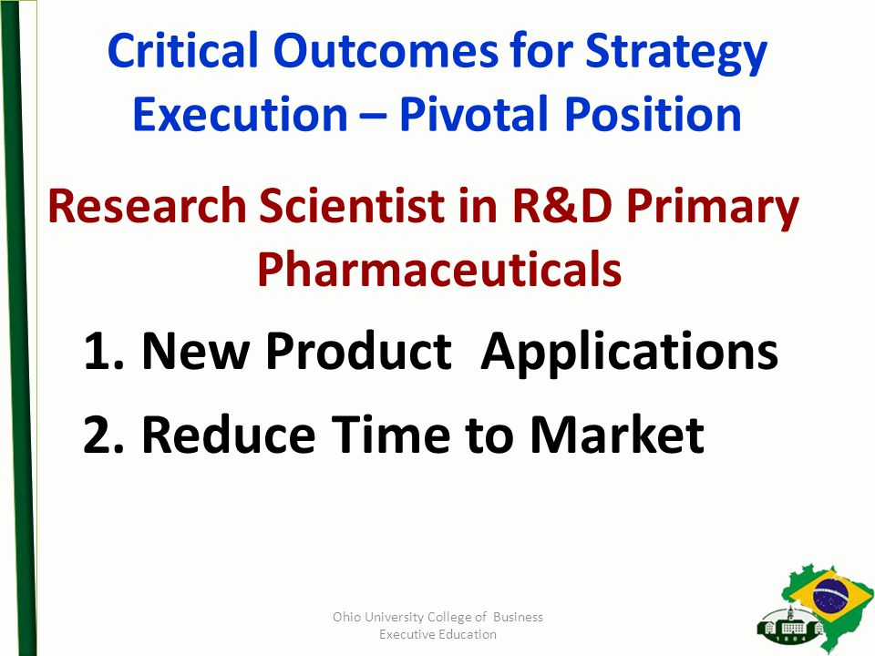 Critical Outcomes for Strategy Execution – Pivotal Position Research Scientist in R&D Primary Pharmaceuticals 1.