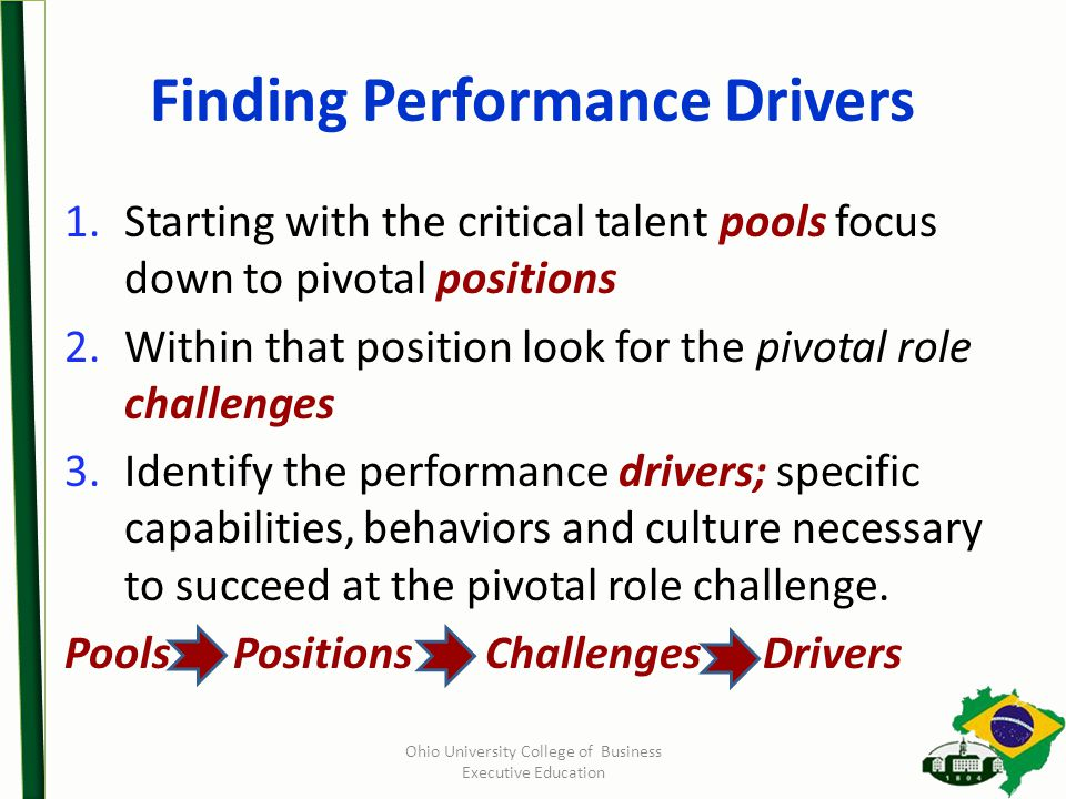 Finding Performance Drivers 1.Starting with the critical talent pools focus down to pivotal positions 2.Within that position look for the pivotal role challenges 3.Identify the performance drivers; specific capabilities, behaviors and culture necessary to succeed at the pivotal role challenge.