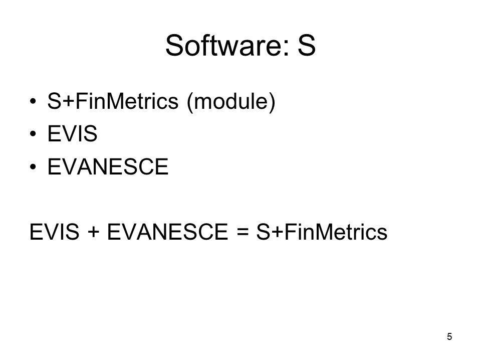 5 Software: S S+FinMetrics (module) EVIS EVANESCE EVIS + EVANESCE = S+FinMetrics