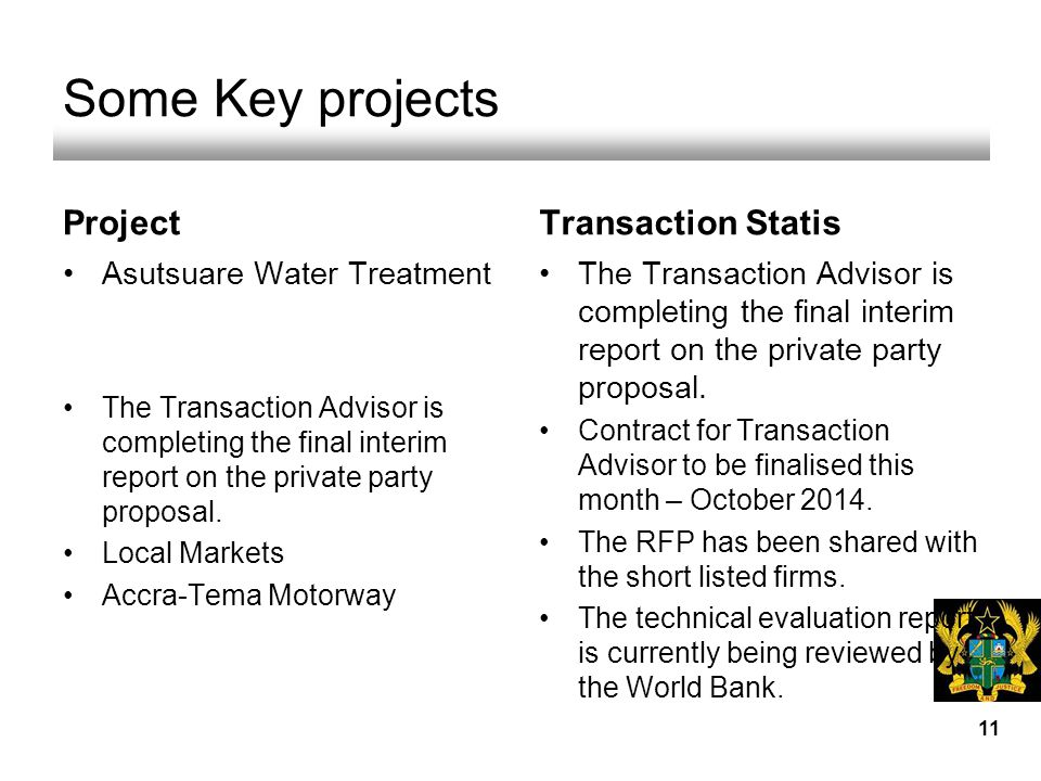 Some Key projects Project Asutsuare Water Treatment The Transaction Advisor is completing the final interim report on the private party proposal.