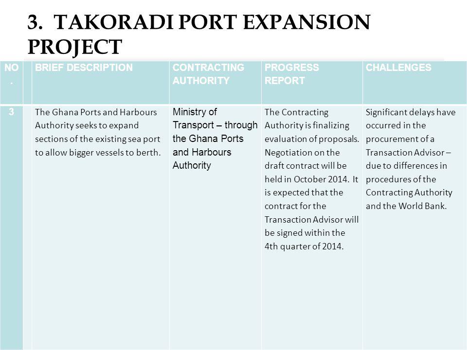 3. TAKORADI PORT EXPANSION PROJECT 15 NO.