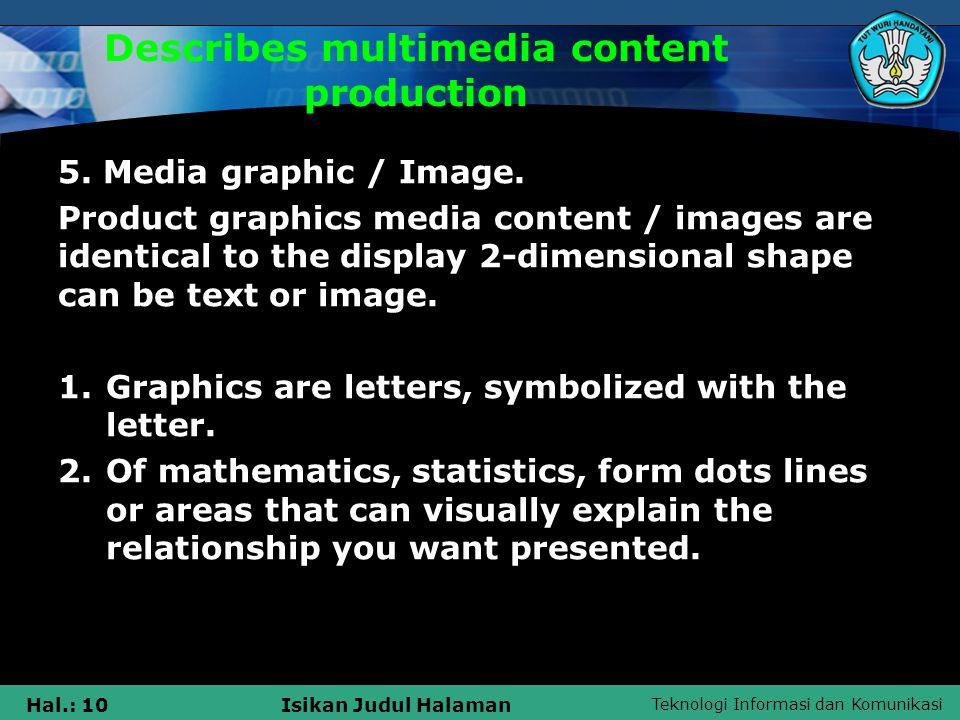 Teknologi Informasi dan Komunikasi Hal.: 10Isikan Judul Halaman Describes multimedia content production 5.