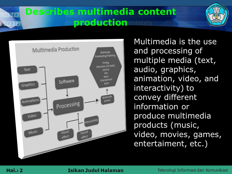 Teknologi Informasi dan Komunikasi Hal.: 2Isikan Judul Halaman Describes multimedia content production Multimedia is the use and processing of multiple media (text, audio, graphics, animation, video, and interactivity) to convey different information or produce multimedia products (music, video, movies, games, entertaiment, etc.)