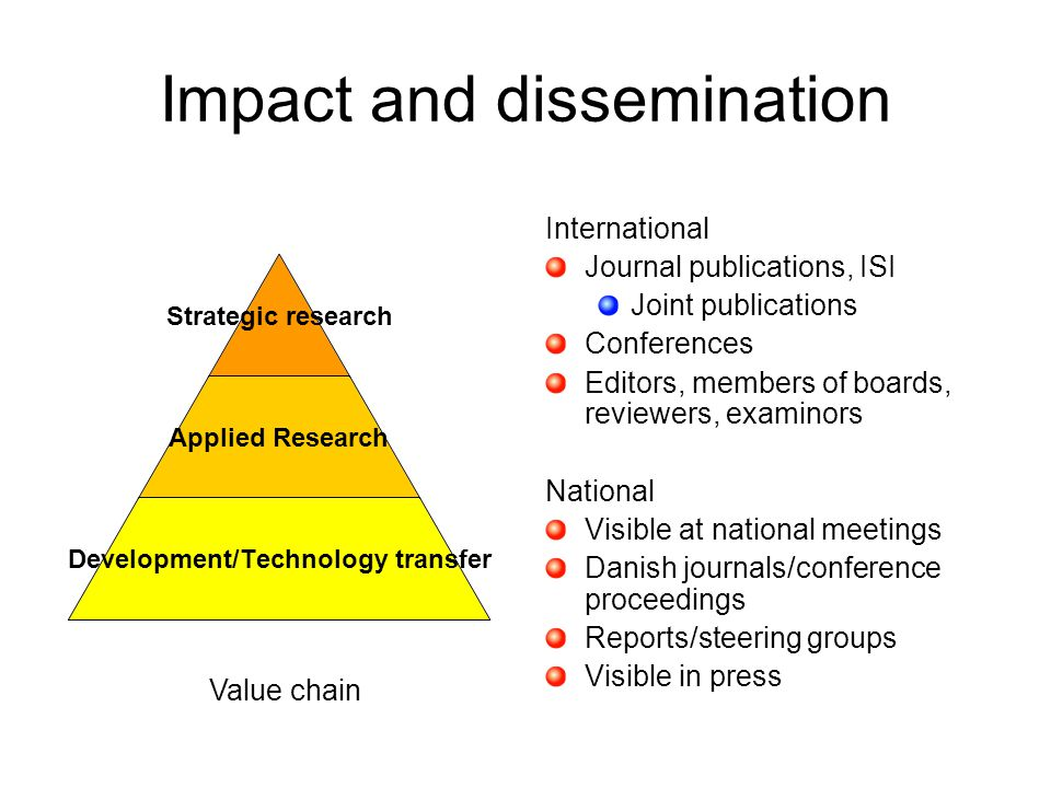 Impact and dissemination International Journal publications, ISI Joint publications Conferences Editors, members of boards, reviewers, examinors Natio