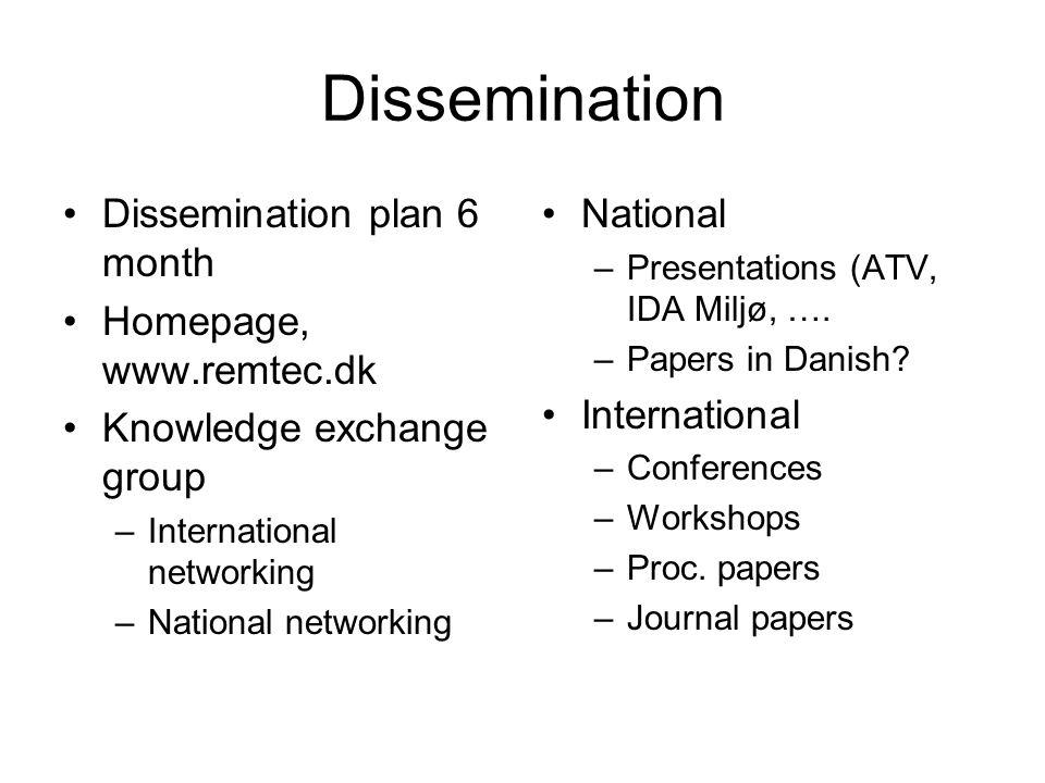 Dissemination Dissemination plan 6 month Homepage, www.remtec.dk Knowledge exchange group –International networking –National networking National –Presentations (ATV, IDA Miljø, ….
