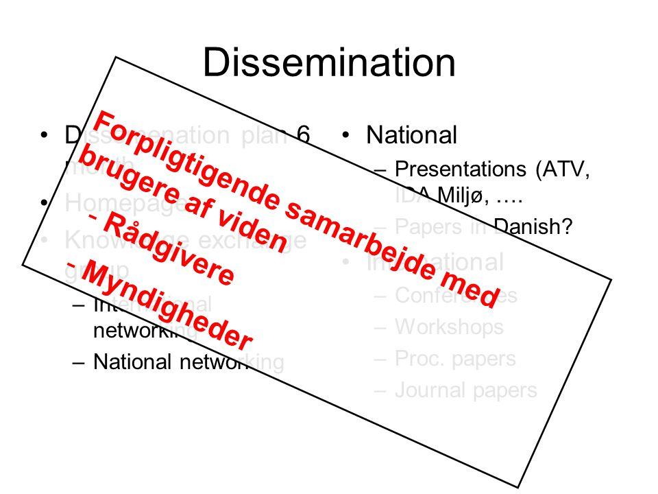 Dissemination Dissemenation plan 6 month Homepage Knowledge exchange group –International networking –National networking National –Presentations (ATV, IDA Miljø, ….