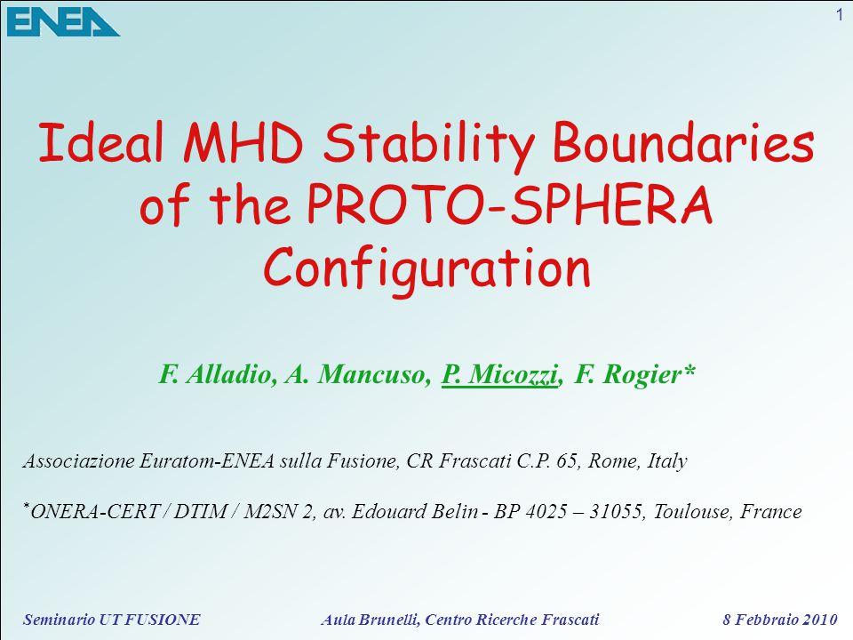 Seminario UT FUSIONE Aula Brunelli, Centro Ricerche Frascati 8 Febbraio 2010 Ideal MHD Stability Boundaries of the PROTO-SPHERA Configuration F. Allad