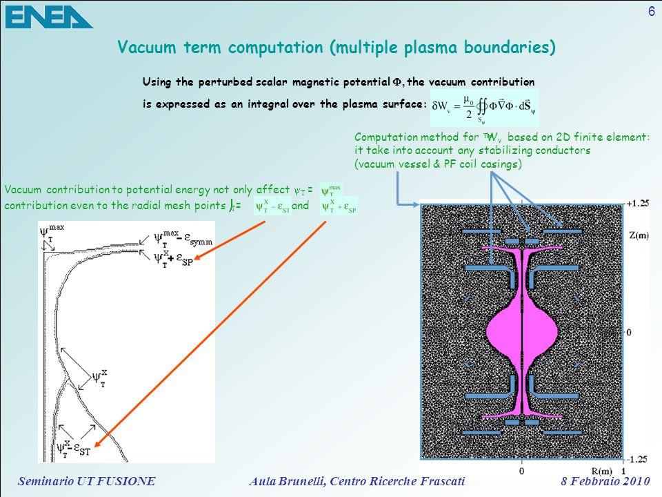 Seminario UT FUSIONE Aula Brunelli, Centro Ricerche Frascati 8 Febbraio 2010 6 Vacuum term computation (multiple plasma boundaries) Vacuum contributio
