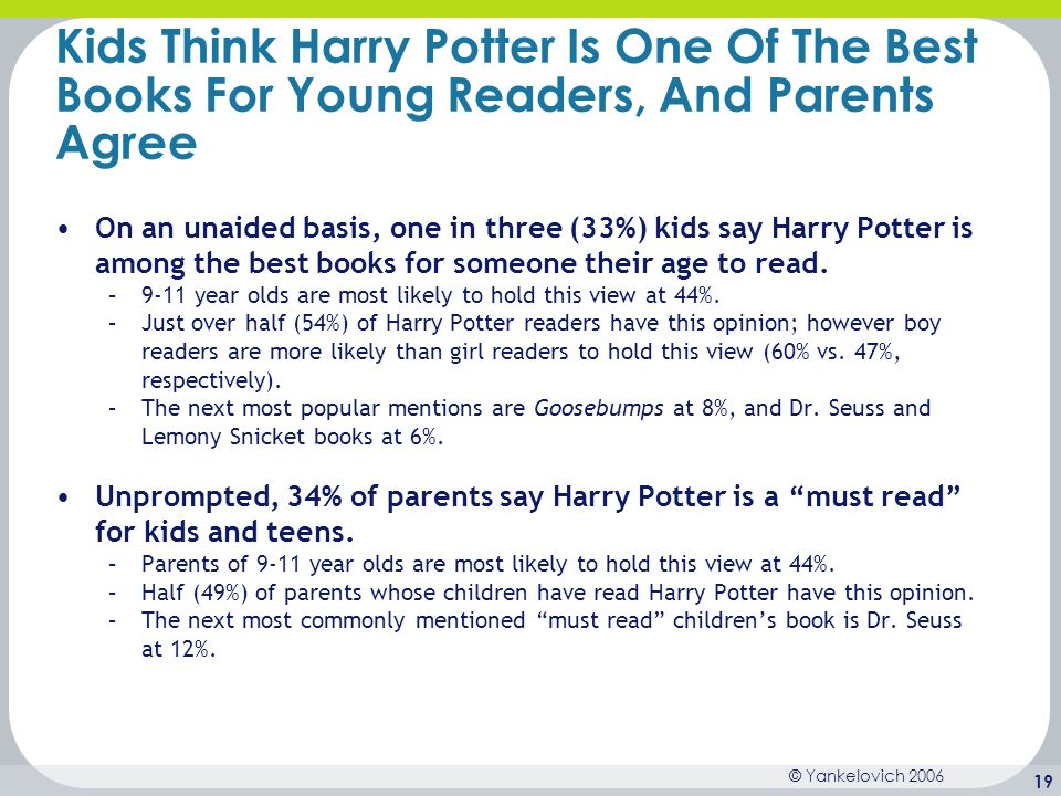 © Yankelovich 2006 19 Kids Think Harry Potter Is One Of The Best Books For Young Readers, And Parents Agree On an unaided basis, one in three (33%) ki
