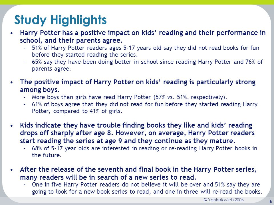 © Yankelovich 2006 6 Study Highlights Harry Potter has a positive impact on kids' reading and their performance in school, and their parents agree. –5