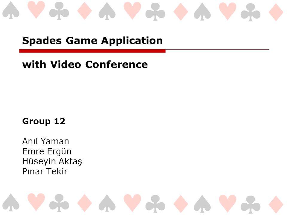 Spades Game Application with Video Conference Group 12 Anıl Yaman Emre Ergün Hüseyin Aktaş Pınar Tekir