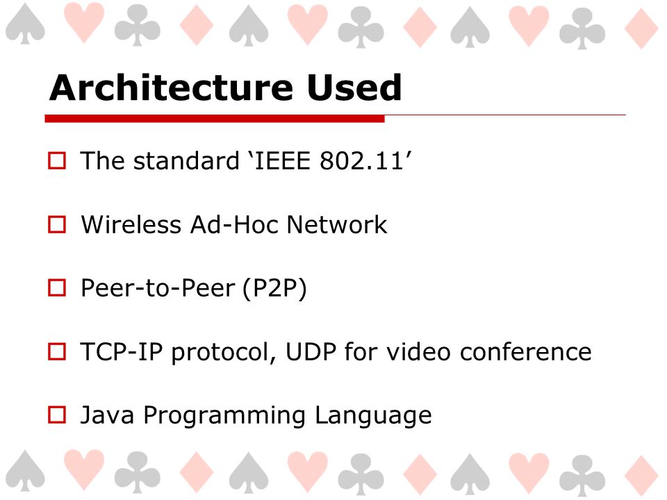 Architecture Used  The standard 'IEEE 802.11'  Wireless Ad-Hoc Network  Peer-to-Peer (P2P)  TCP-IP protocol, UDP for video conference  Java Programming Language