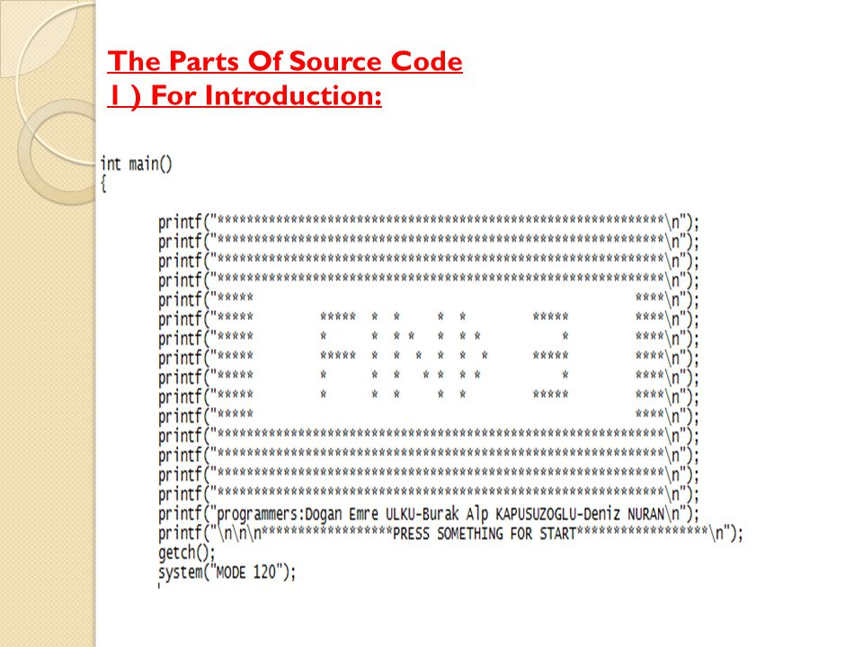 The Parts Of Source Code 1 ) For Introduction: