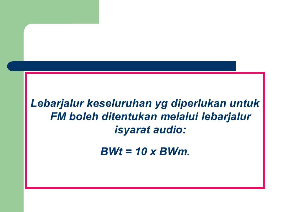 Lebarjalur keseluruhan yg diperlukan untuk FM boleh ditentukan melalui lebarjalur isyarat audio: BWt = 10 x BWm.
