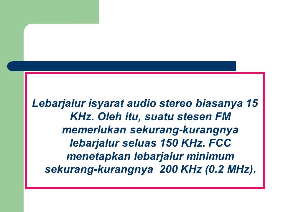 Lebarjalur isyarat audio stereo biasanya 15 KHz. Oleh itu, suatu stesen FM memerlukan sekurang-kurangnya lebarjalur seluas 150 KHz. FCC menetapkan leb