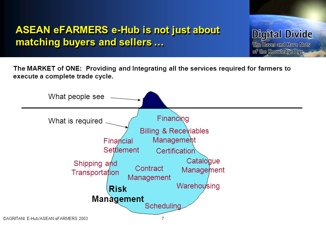 ©AGRITANI E-Hub/ASEAN eFARMERS 20037 ASEAN eFARMERS e-Hub is not just about matching buyers and sellers … What people see What is required Financial Settlement Shipping and Transportation Financing Certification Warehousing Scheduling Contract Management Catalogue Management Billing & Receviables Management Risk Management The MARKET of ONE: Providing and Integrating all the services required for farmers to execute a complete trade cycle.
