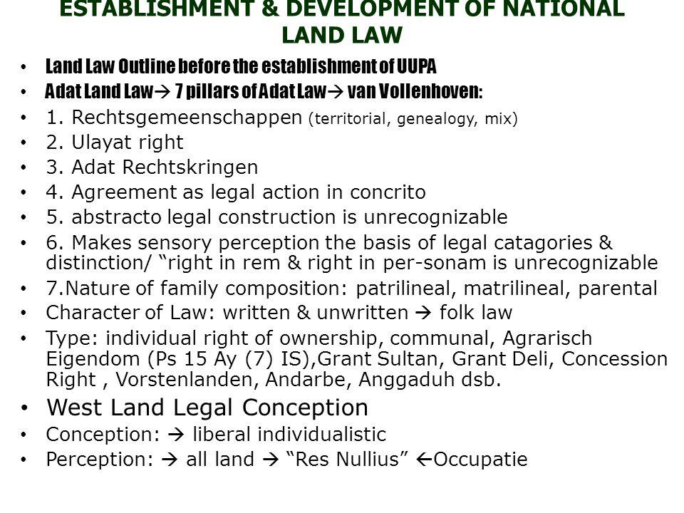 ESTABLISHMENT & DEVELOPMENT OF NATIONAL LAND LAW Land Law Outline before the establishment of UUPA Adat Land Law  7 pillars of Adat Law  van Vollenh