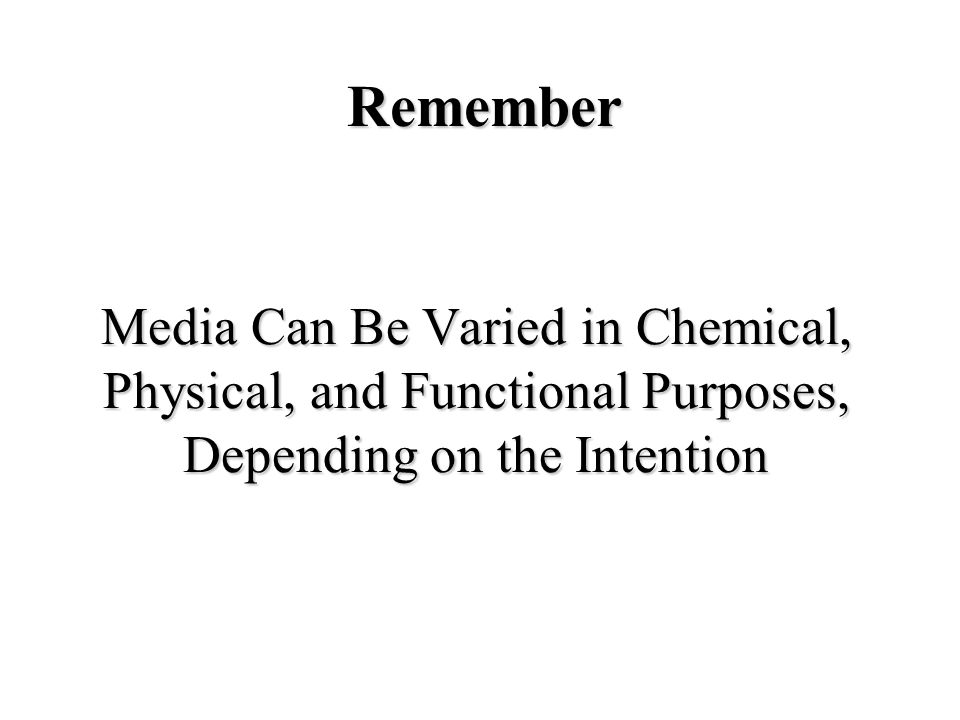 Media Can Be Varied in Chemical, Physical, and Functional Purposes, Depending on the Intention Remember
