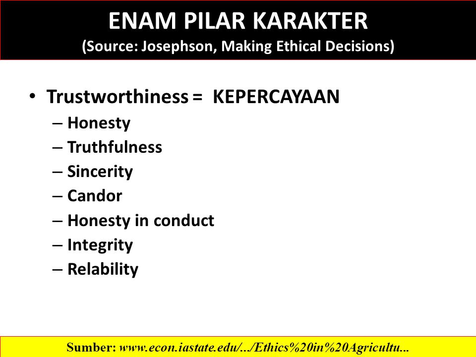 ENAM PILAR KARAKTER (Source: Josephson, Making Ethical Decisions) Trustworthiness = KEPERCAYAAN – Honesty – Truthfulness – Sincerity – Candor – Honesty in conduct – Integrity – Relability Sumber: