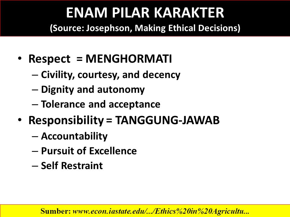 Respect = MENGHORMATI – Civility, courtesy, and decency – Dignity and autonomy – Tolerance and acceptance Responsibility = TANGGUNG-JAWAB – Accountability – Pursuit of Excellence – Self Restraint Sumber:   ENAM PILAR KARAKTER (Source: Josephson, Making Ethical Decisions)