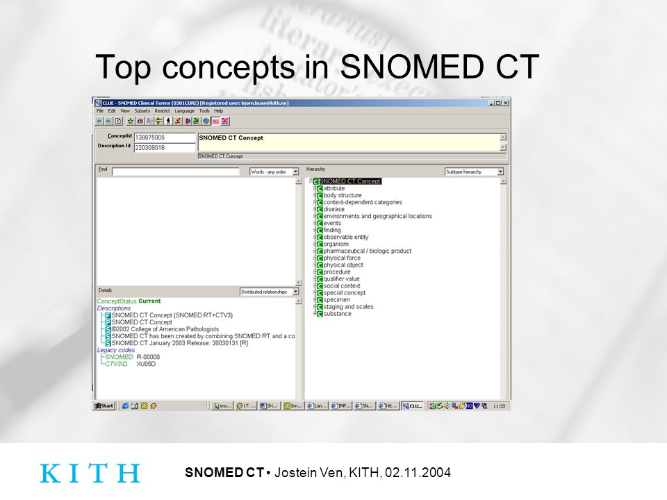 SNOMED CT Jostein Ven, KITH, 02.11.2004 Top concepts in SNOMED CT