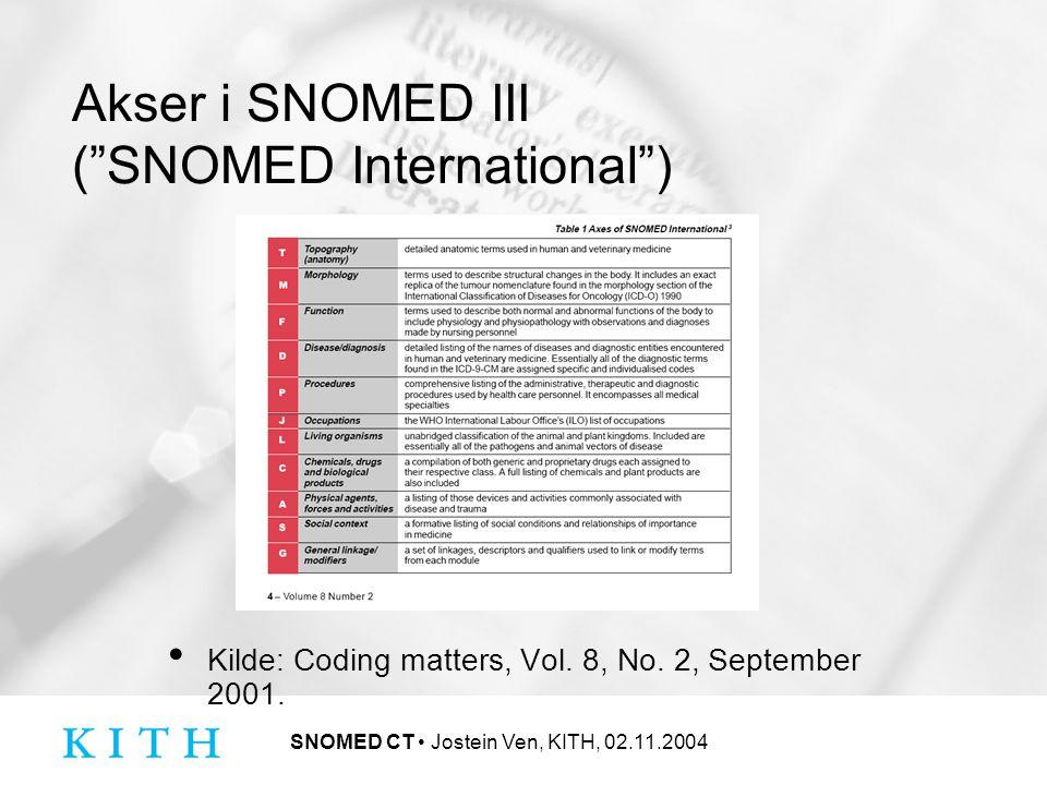 SNOMED CT Jostein Ven, KITH, 02.11.2004 Cross Mapping Metodologi og tabeller for mapping fra begreper i SNOMED CT til en eller flere koder andre kodeverk One way only.