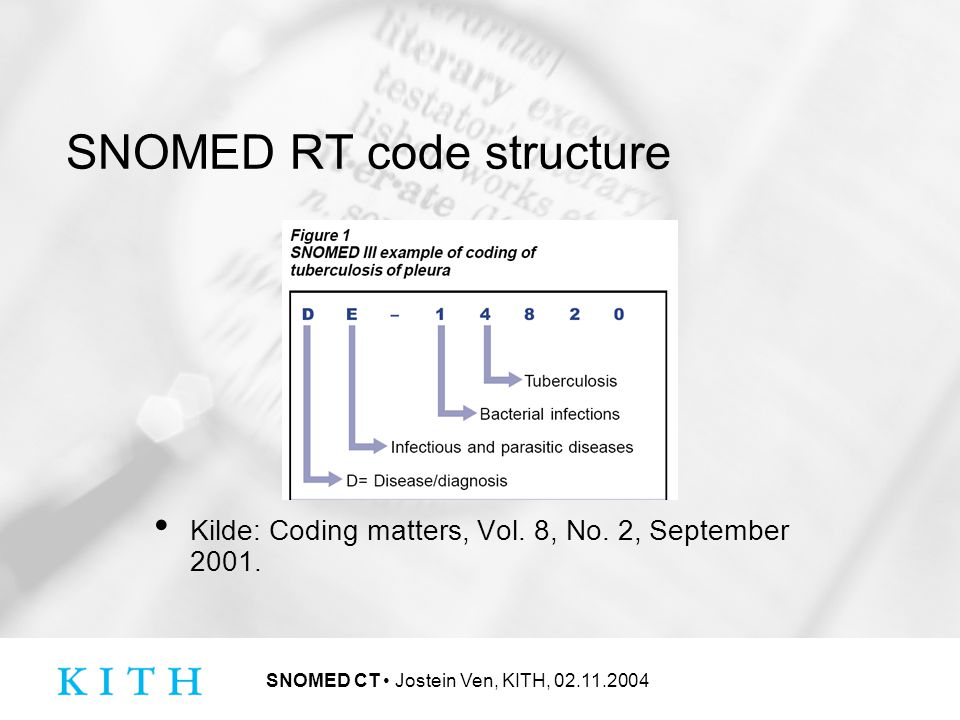 SNOMED CT Jostein Ven, KITH, 02.11.2004 Tables involved in cross mapping
