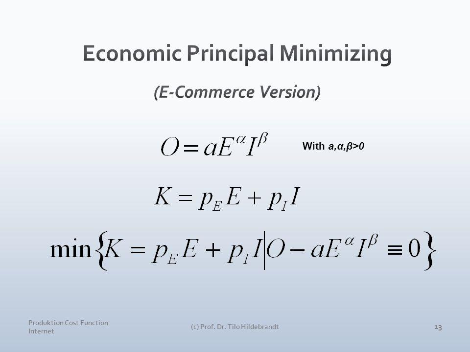 Produktion Cost Function Internet (c) Prof. Dr. Tilo Hildebrandt 13 With a,α,β>0