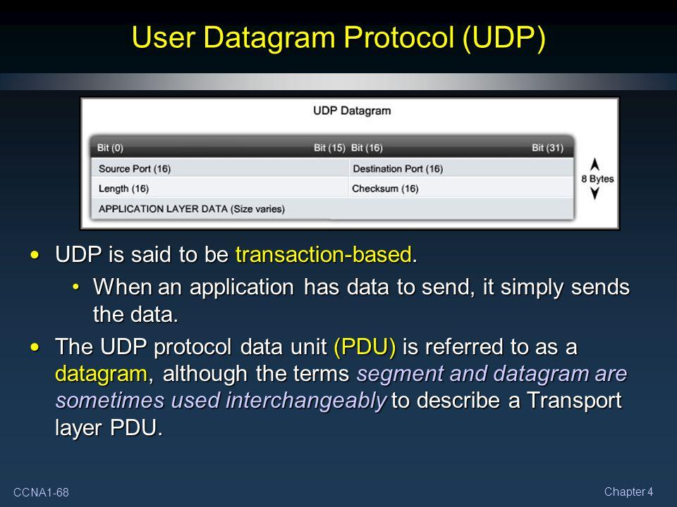 CCNA1-68 Chapter 4 User Datagram Protocol (UDP) UDP is said to be transaction-based.