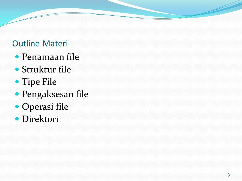 Outline Materi Penamaan file Struktur file Tipe File Pengaksesan file Operasi file Direktori 3