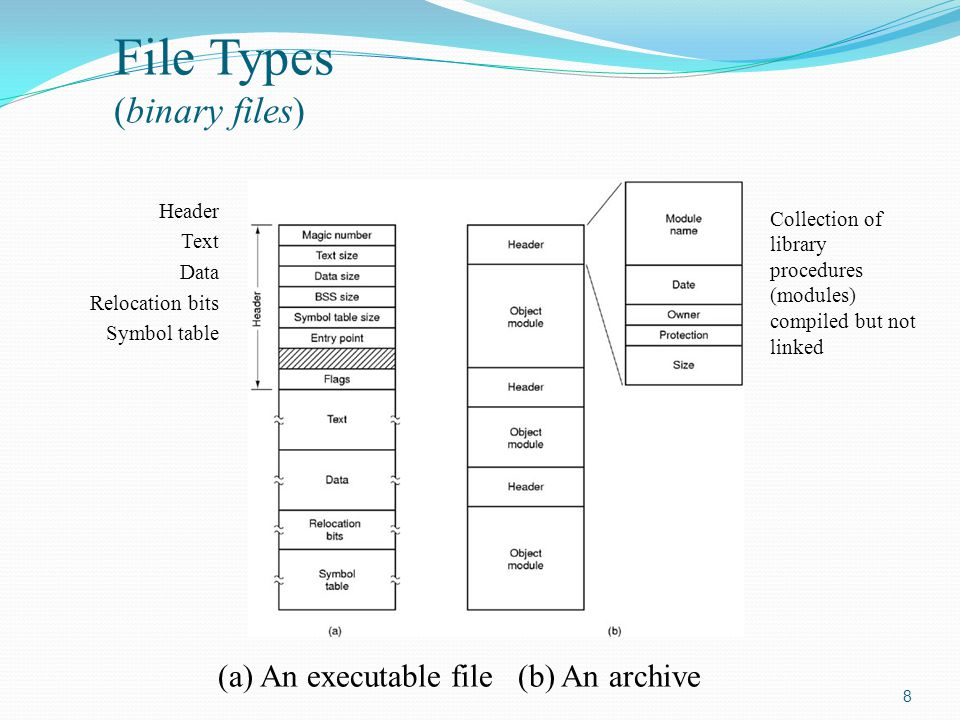 8 File Types (binary files) (a) An executable file (b) An archive Header Text Data Relocation bits Symbol table Collection of library procedures (modu