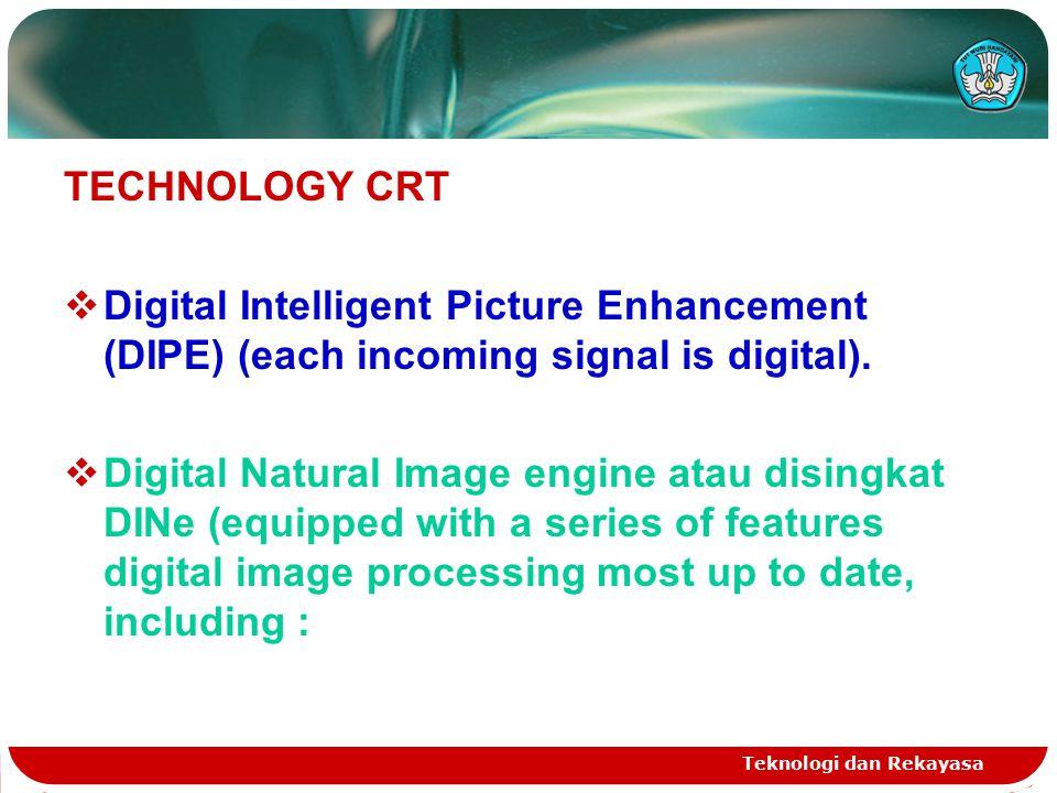 Teknologi dan Rekayasa TECHNOLOGY CRT  Digital Intelligent Picture Enhancement (DIPE) (each incoming signal is digital).