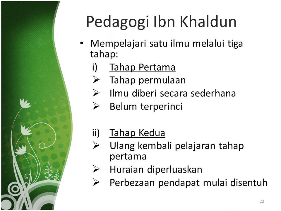 Pedagogi Ibn Khaldun Mempelajari satu ilmu melalui tiga tahap: i)Tahap Pertama  Tahap permulaan  Ilmu diberi secara sederhana  Belum terperinci ii)