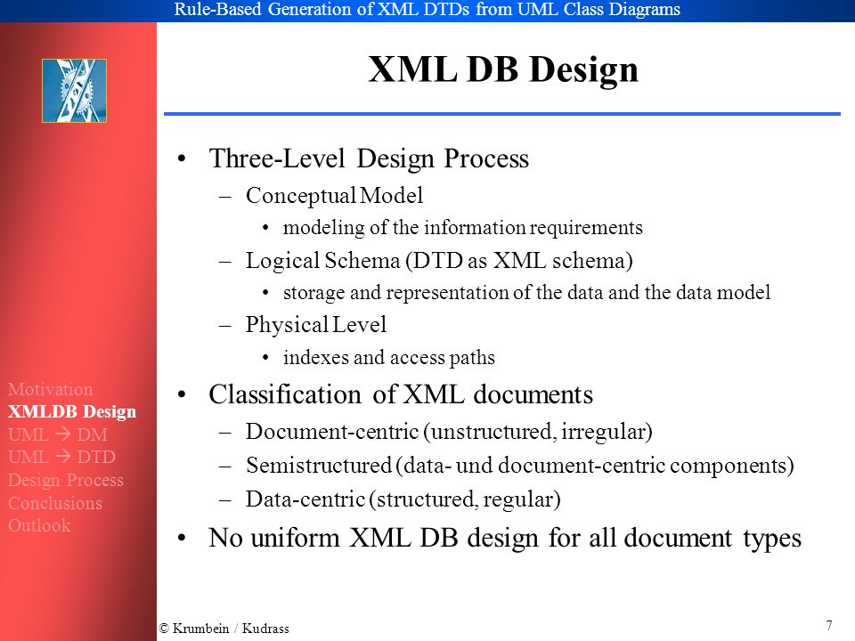 © Krumbein / Kudrass Rule-Based Generation of XML DTDs from UML Class Diagrams 8 XML DB Design document-centricsemistructureddata-centric conceptual level modeling of stucture and content modeling of structure and content modeling of structure tree-based XML editorsER, UML, ORM logical level document model / updates to structure / content data model / document model queries / updates to structure / content data model queries / updates to content SGML, XML XPath, DOM, XQuery OEM, XML Lorel, XQuery relational DM object-oriented DM XML SQL, OQL, XQuery physical level storage of structure at value level storage of structure at schema and value level storage of structure at schema level files full-text index structure index generic storage of graphs DOM relational DB object-relational DB object-oriented DB Motivation XMLDB Design UML  DM UML  DTD Design Process Conclusions Outlook