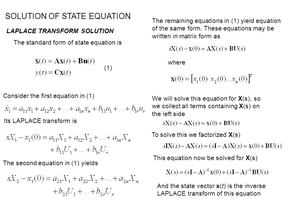 SOLUTION OF STATE EQUATION LAPLACE TRANSFORM SOLUTION To obtain a general relationship for the solution we define the state transition matrix as The matrix (sI – A) -1 is called resolvant of A.
