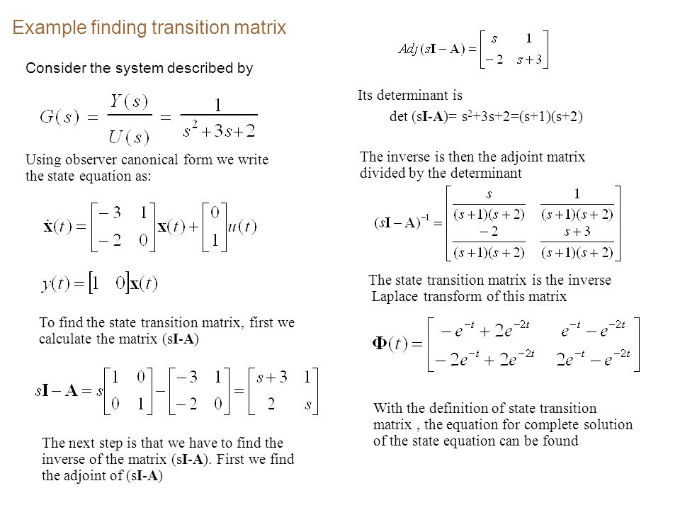 Example finding solution of the state equation Consider the same system as before With  (s) the Laplace transform of transition matrix is given by Suppose that the input is a unit step.