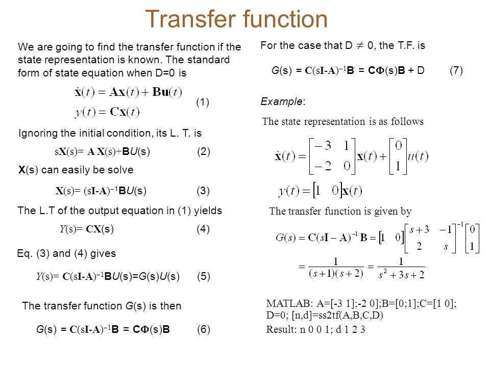 Similarity transformations  Suppose that we are given a ss model as in (1).