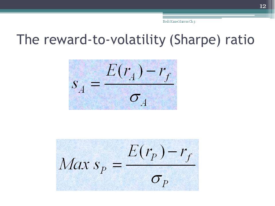 The reward-to-volatility (Sharpe) ratio Bodi Kane Marcus Ch 5 12