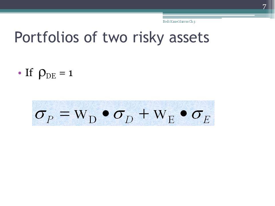 Portfolios of two risky assets If  DE = 1 Bodi Kane Marcus Ch 5 7