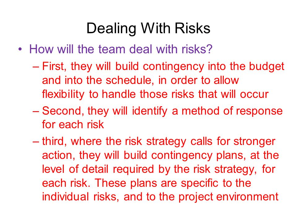 Dealing With Risks How will the team deal with risks.