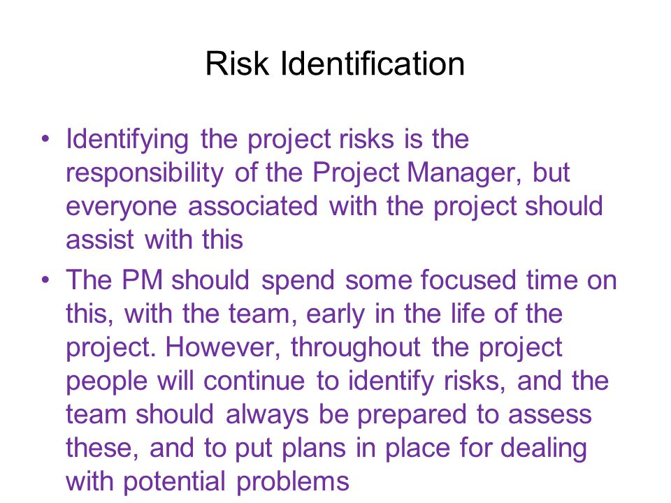 Risk response Risk response techniques generally fall into one of four categories: –a.