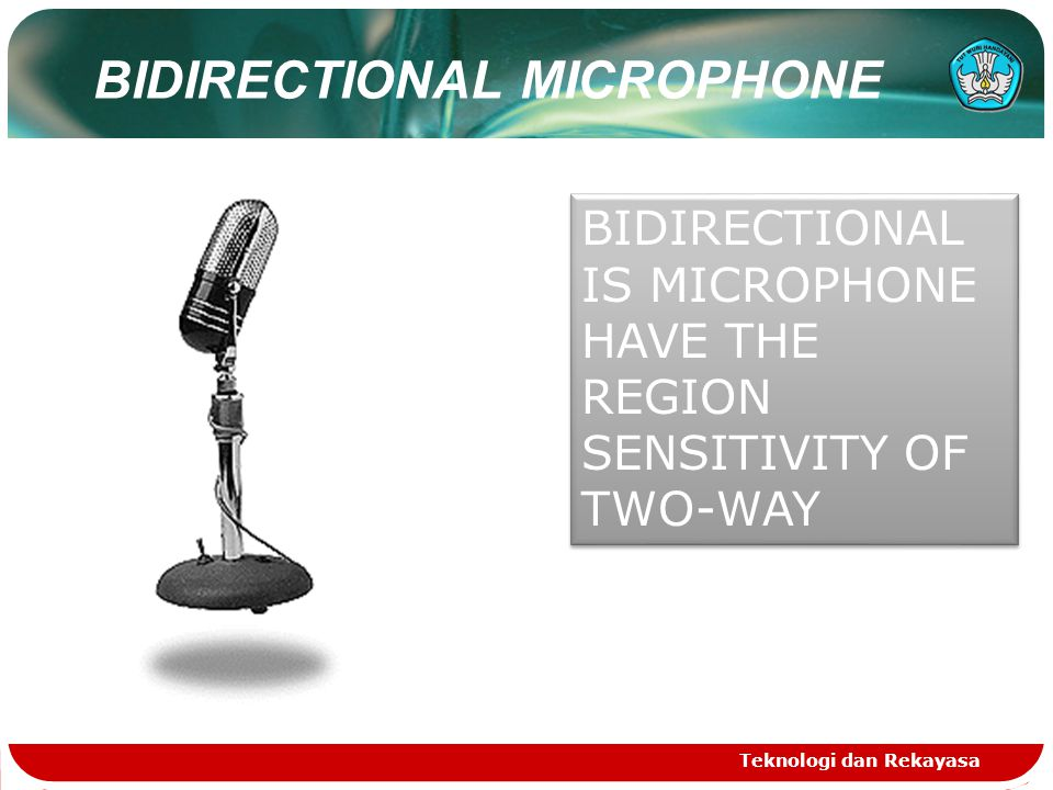 Teknologi dan Rekayasa BIDIRECTIONAL IS MICROPHONE HAVE THE REGION SENSITIVITY OF TWO-WAY BIDIRECTIONAL MICROPHONE